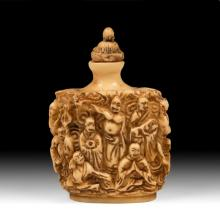 Carved Bone Snuff Bottle With Monks