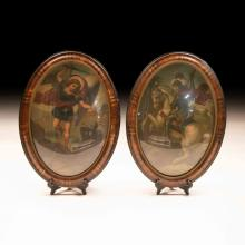 Pair of Louis Philippe Oval Wall Frames+ Paintings