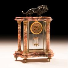 19th Century French Marble and Bronze Table Clock