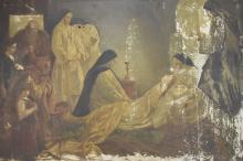 Nuns Attending to Patient, 19th c. Oil on Canvas