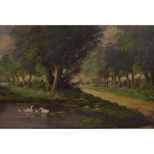 Swans Along a Wooded Trail, Oil on Canvas