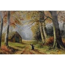 Peasant Cottage on a Wooded Lane, Oil on Canvas