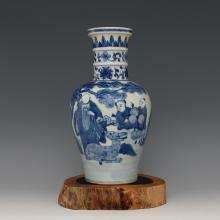 Chinese Porcelain Blue & White Vase With Shou Xing