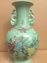 Chinese Porcelain Famille Rose Vase with cyan-blue ground
