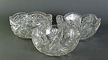 3 Cut Glass Bowls, Serving Size
