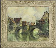 Ernst Brocker O/C Captivating Village Scene