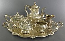 Ornate Gorham 6 Pc Chantilly Silver Plate Tea