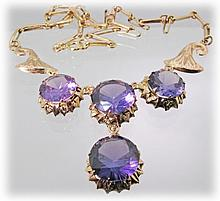 14K Necklace with Synthetic Color Change Sapphires