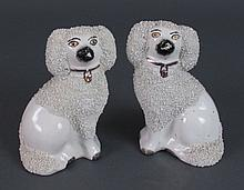 Pair Staffordshire Poodle Dog Figures