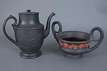 2 Pcs Black Basalt Pottery Crater Urn & Coffee Pot