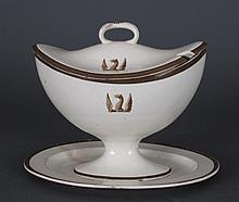 18th C Porcelain Covered Tureen with Dish