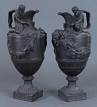 Pair Wedgwood Black Basalt Water & Wine Ewers