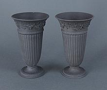 Wedgwood 19th C. Pair of Black Basalt Vases