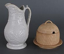 2 Pcs 19th C. Wedgwood, Honey Pot, Small Pitcher