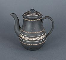 Wedgwood 19th C Black Basalt Coffeepot Teapot