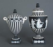 2 Vintage Wedgwood Black Jasper Dip Covered Urns