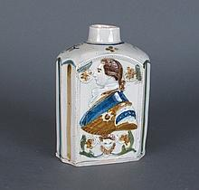 Antique Earthenware Hand Painted Tea Caddy / Jug