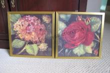 2 Gold Gilded Framed Flowers on Canvas