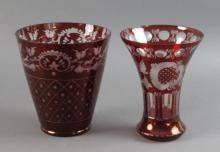 2 - Ruby Cut To Clear Vases