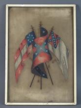 Early Painting on Glass of Confederate Flags