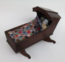 Ca 1800s Doll With Cradle