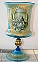 Gilded Blue Glass Urn with Judaica