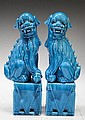 Pair of Chinese Ming Blue Porcelain Foo Dogs