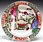 Chinese Famille Rose Porcelain Plate w/ Emperor