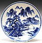 Large Chinese Blue & White Porcelain Plate
