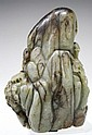 Chinese Carved Celadon Jade Landscape Boulder