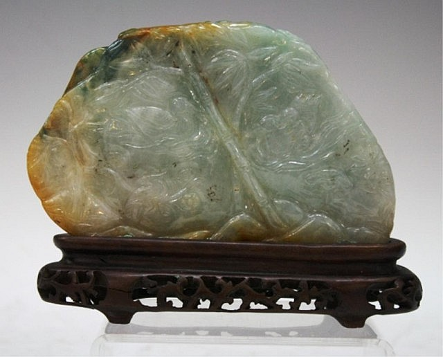 Chinese Carved Jadeite Boulder w/ Fisherman