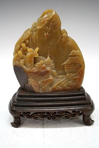 Chinese Shoushan Stone Carving of Mountain