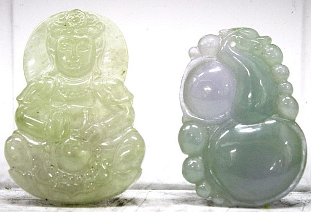 Lot of 2 Chinese Carved Jadeite Pendants