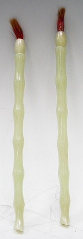 2 Chinese Carved White Jade Paint Brushes 19th C.