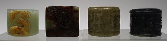 Lot of 4 Chinese Carved Jade Archer's Rings