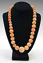 Italian Coral Necklace Graduated Beads