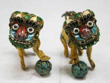 Pair of Chinese Gilded Silver & Enamel Foo Lions
