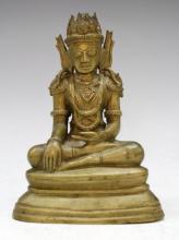 Bronze Buddha or Bodhisattva Sculpture, Cambodia