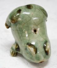 Old Korean Celadon Ceramic Frog Water Dropper