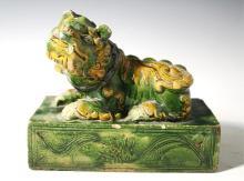 Chinese Sancai Henan Buddhistic Lion poss. Yuan
