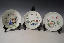 Lot of 3 Chinese Famille Rose Porcelain Plates