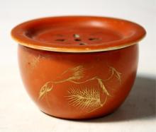 Chinese Orange & Gold Porcelain Incense Burner