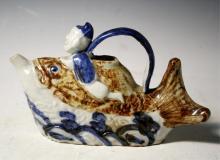 Chinese Blue & White Man/Fish Porcelain Water Pot