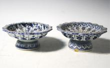 Pair of Blue & White Porcelain Footed Bowls