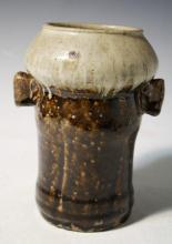 Chinese Beige & Brown Globular Top Pottery Vase