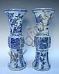 Chinese Blue  &  White Beaker Vase Pair 20th C