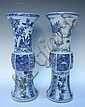 Chinese Blue  &  White Beaker Vase Pair 20th C