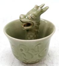 Chinese Celadon Reverse-Flow Dragon Cup