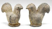Pair of Chinese Pottery Chicken Figurines,