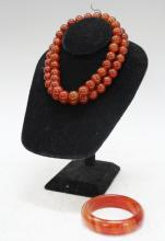 Set of 2 Chinese Red Agate Stone Beads & Bracelet
